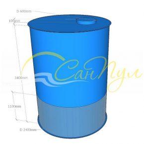 цилиндрическая вертикальная емкость 15 кубов